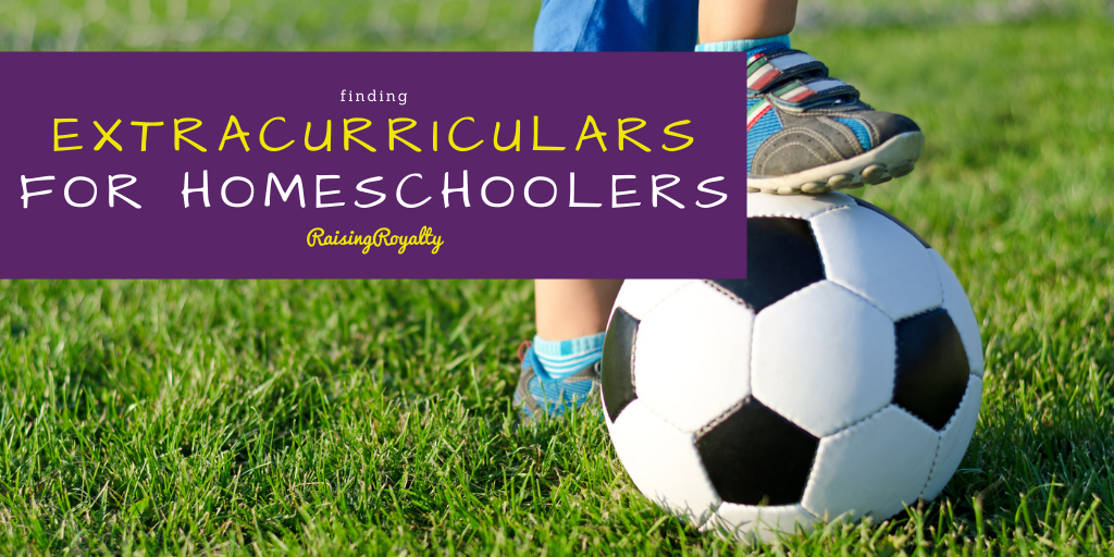 Finding extracurriculars for homeschoolers often worries new homeschooling families. Community-based options may be the solution! Picture has title in yellow on purple background, with a photo of a boy's foot on a soccer ball on green grass.