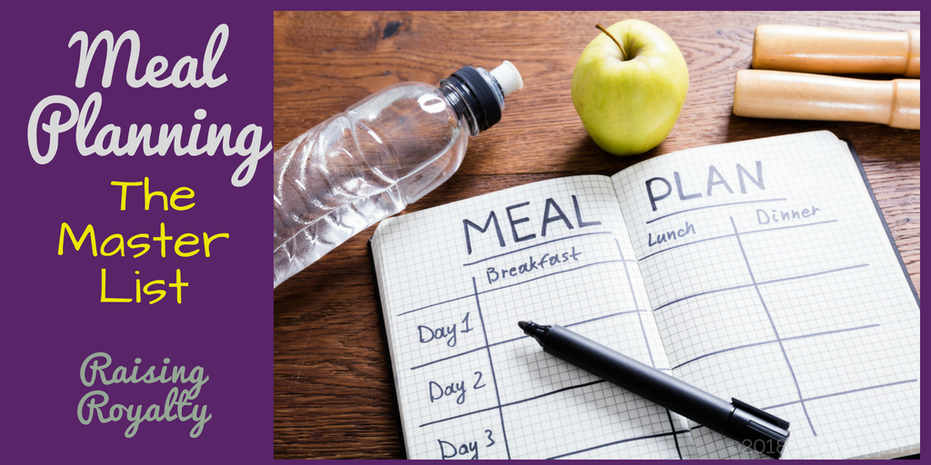 For a busy mom, meal planning is a great way to save time and money. Start with a master list. Title image