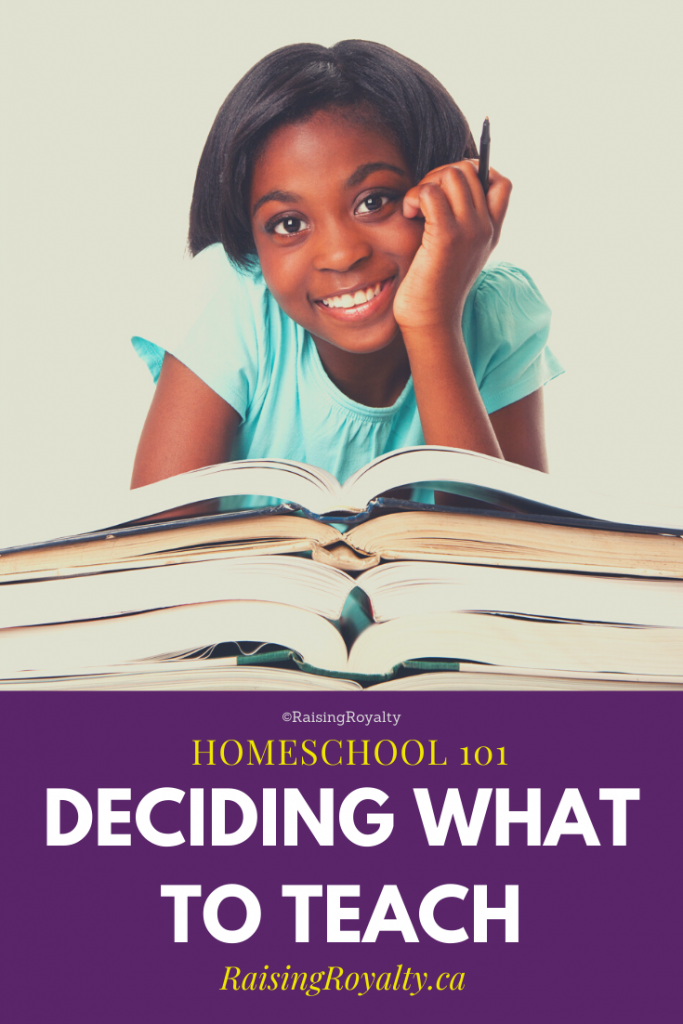 A smiling student on the books her homeschool parent chose to teach