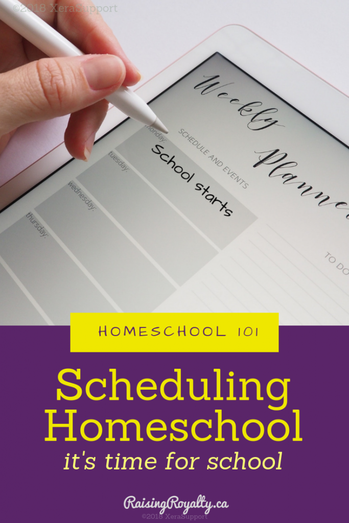 A whiteboard planner used in scheduling homeschool