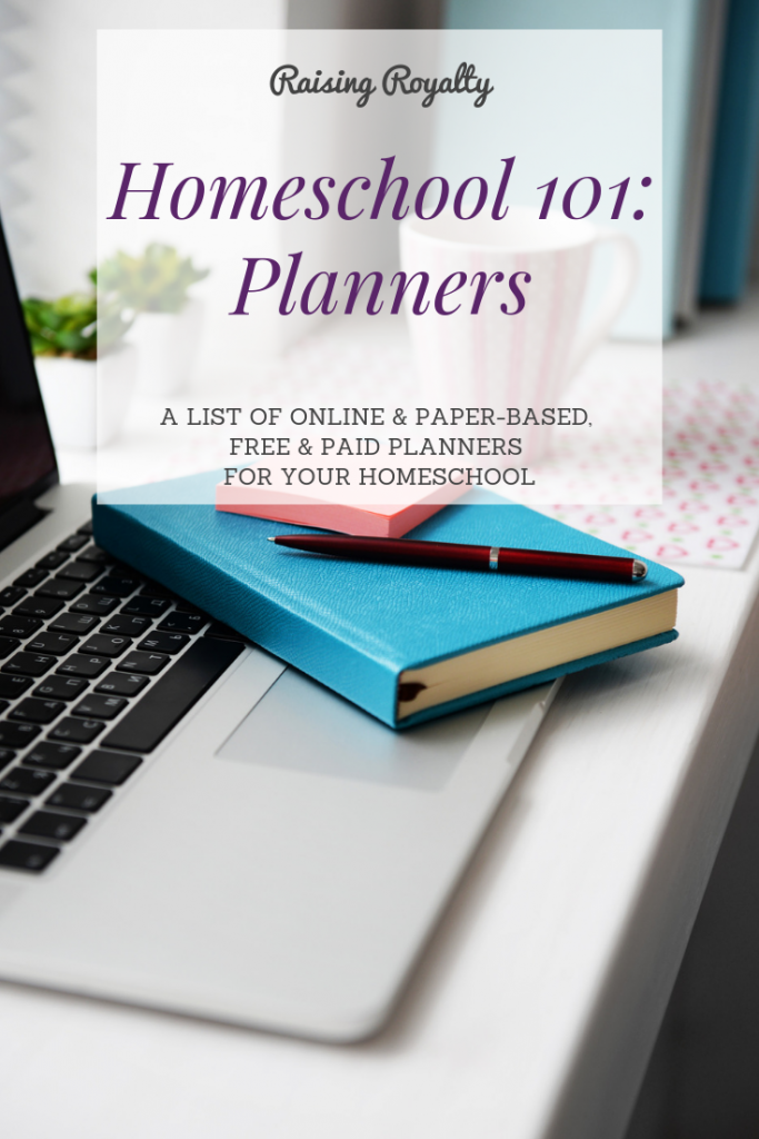 Paper based planner on a laptop keyboard. Which planner do you use for homeschool?