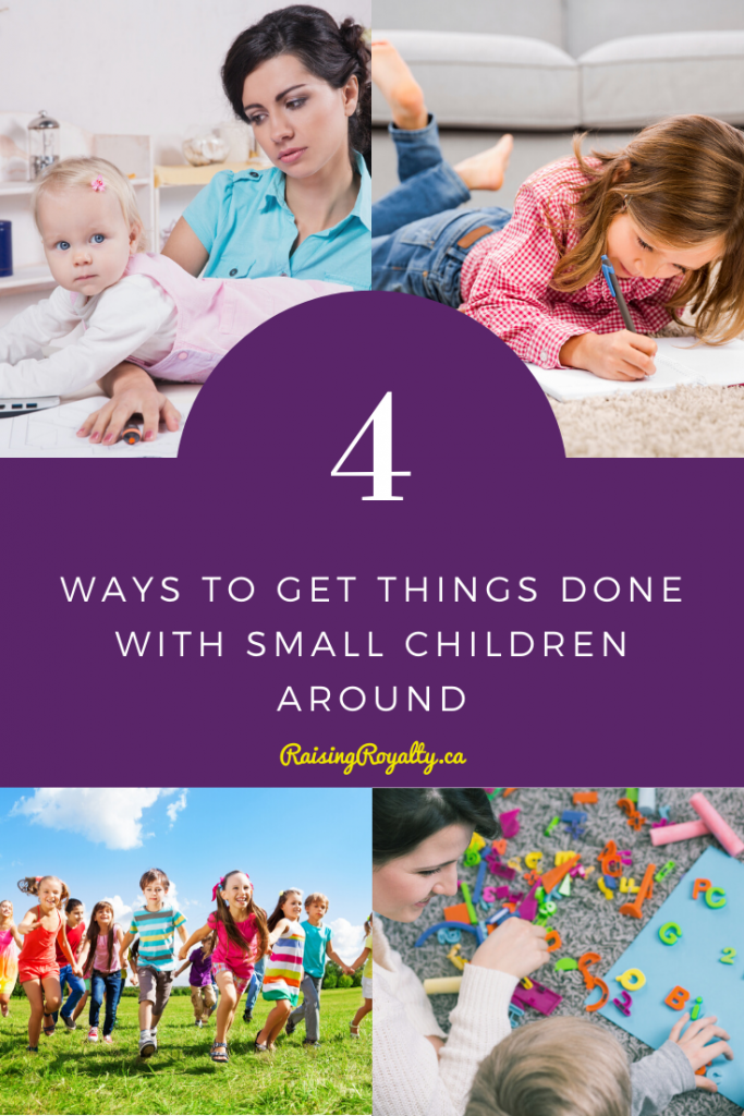 Multiple images of moms and small kids show just how hard parenting can be. How do you accomplish anything when you have little ones?