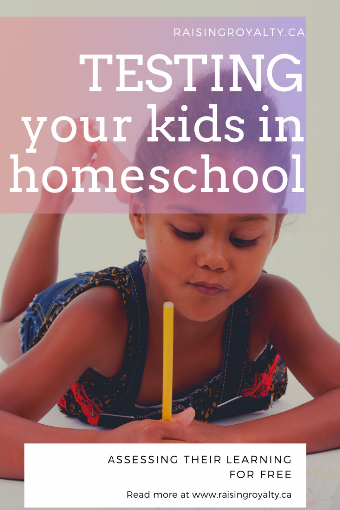 a child testing in homeschool with a pencil laying on her stomach